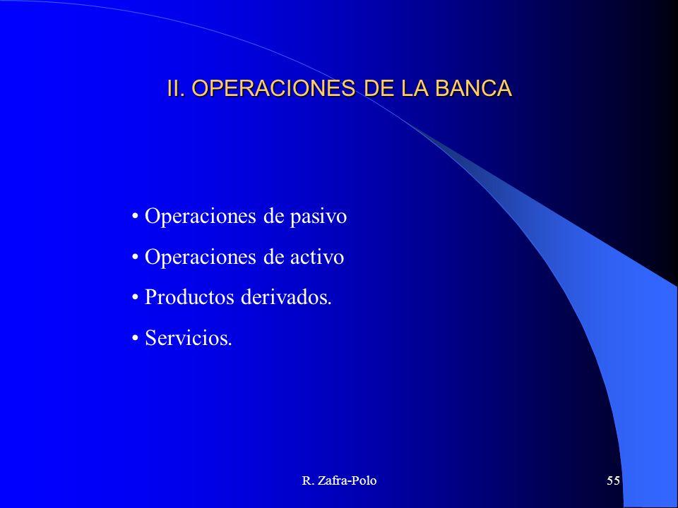 R. Zafra-Polo55 II. OPERACIONES DE LA BANCA Operaciones de pasivo Operaciones de activo Productos derivados. Servicios.