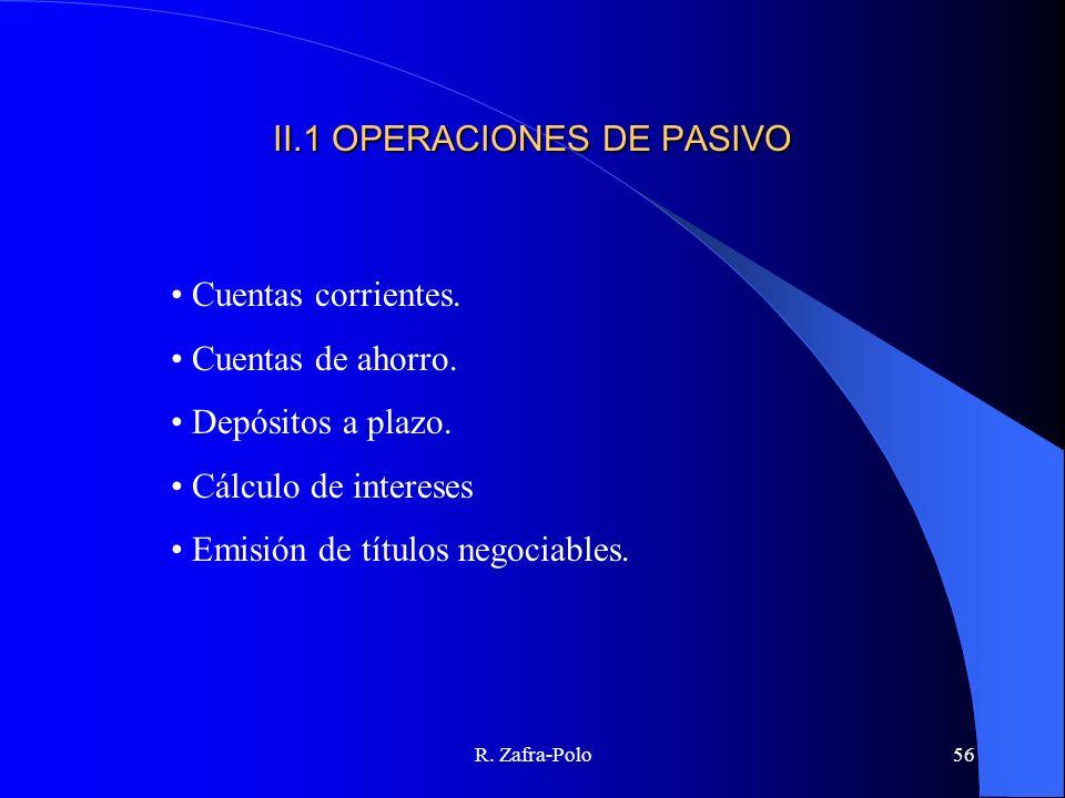 R. Zafra-Polo56 II.1 OPERACIONES DE PASIVO Cuentas corrientes. Cuentas de ahorro. Depósitos a plazo. Cálculo de intereses Emisión de títulos negociabl