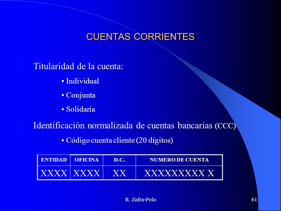 R. Zafra-Polo61 CUENTAS CORRIENTES Titularidad de la cuenta: Individual Conjunta Solidaria Identificación normalizada de cuentas bancarias (CCC) Códig