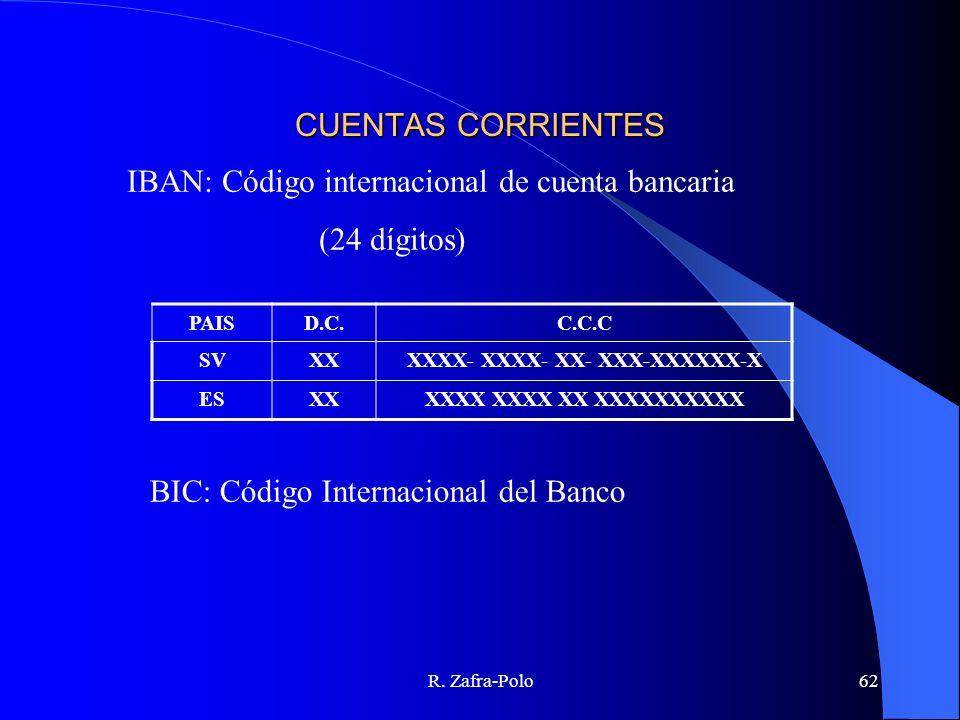 R. Zafra-Polo62 CUENTAS CORRIENTES IBAN: Código internacional de cuenta bancaria (24 dígitos) PAISD.C.C.C.C SVXXXXXX- XXXX- XX- XXX-XXXXXX-X ESXXXXXX