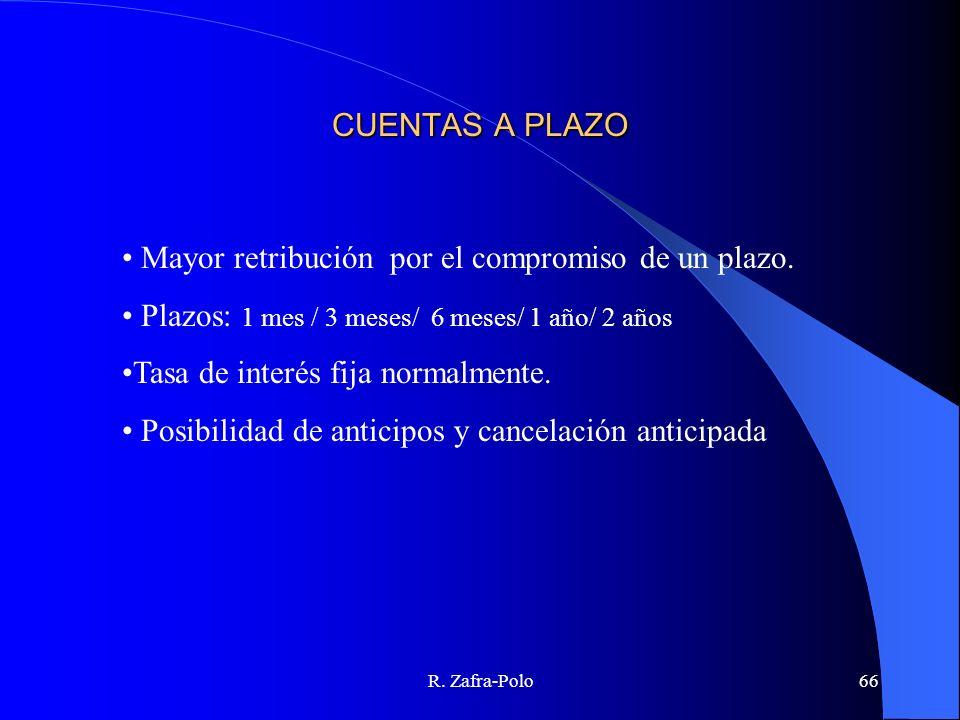 R. Zafra-Polo66 CUENTAS A PLAZO Mayor retribución por el compromiso de un plazo. Plazos: 1 mes / 3 meses/ 6 meses/ 1 año/ 2 años Tasa de interés fija