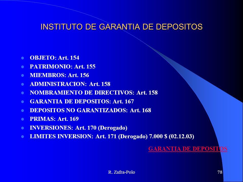 R. Zafra-Polo78 INSTITUTO DE GARANTIA DE DEPOSITOS OBJETO: Art. 154 PATRIMONIO: Art. 155 MIEMBROS: Art. 156 ADMINISTRACION: Art. 158 NOMBRAMIENTO DE D