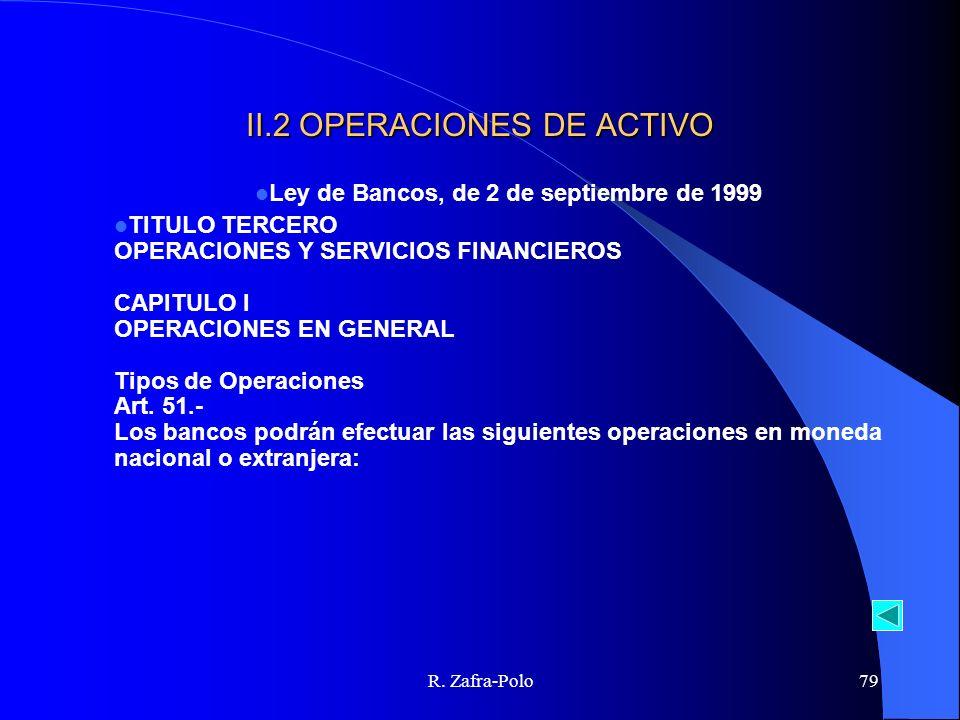 R. Zafra-Polo79 II.2 OPERACIONES DE ACTIVO Ley de Bancos, de 2 de septiembre de 1999 TITULO TERCERO OPERACIONES Y SERVICIOS FINANCIEROS CAPITULO I OPE