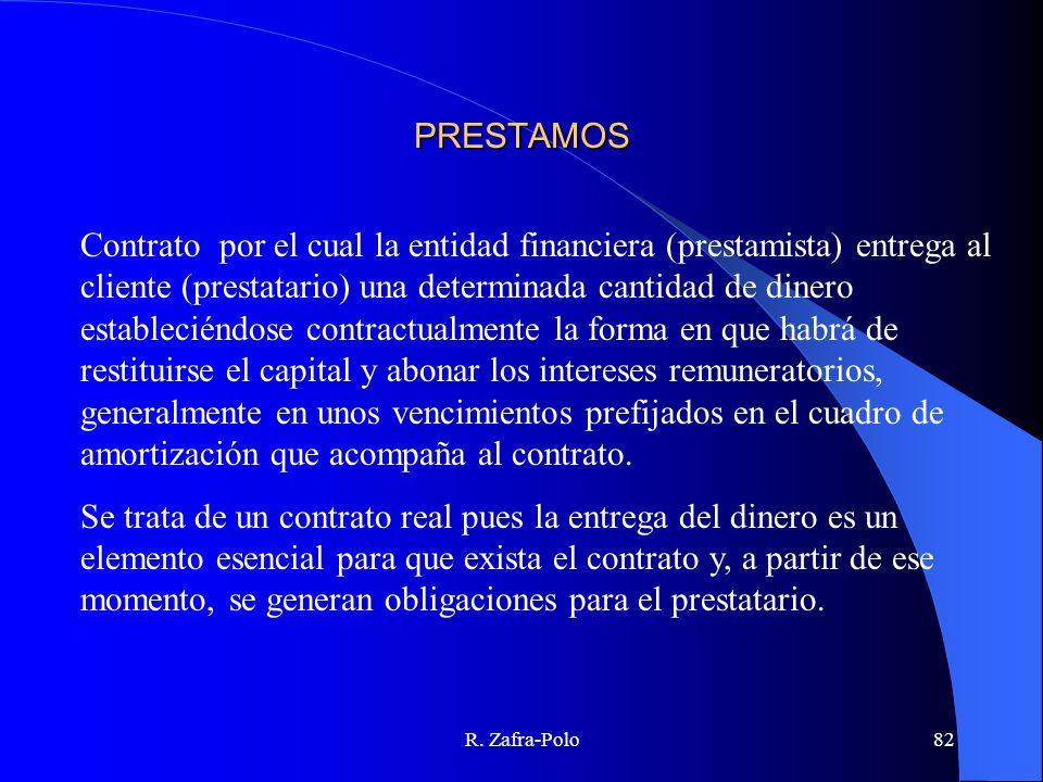R. Zafra-Polo82 PRESTAMOS Contrato por el cual la entidad financiera (prestamista) entrega al cliente (prestatario) una determinada cantidad de dinero