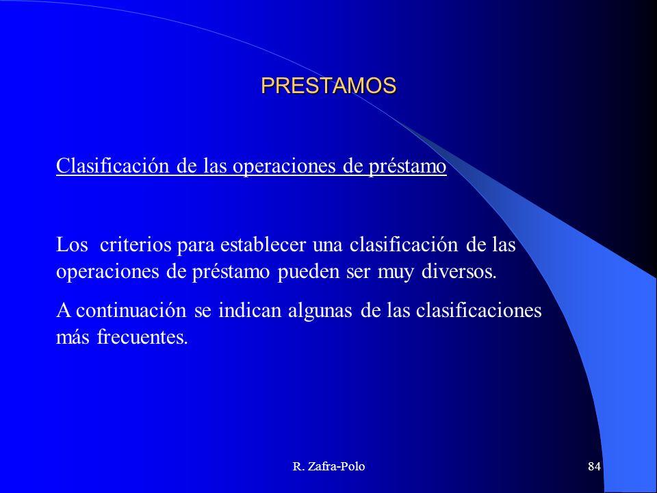 R. Zafra-Polo84 PRESTAMOS Clasificación de las operaciones de préstamo Los criterios para establecer una clasificación de las operaciones de préstamo
