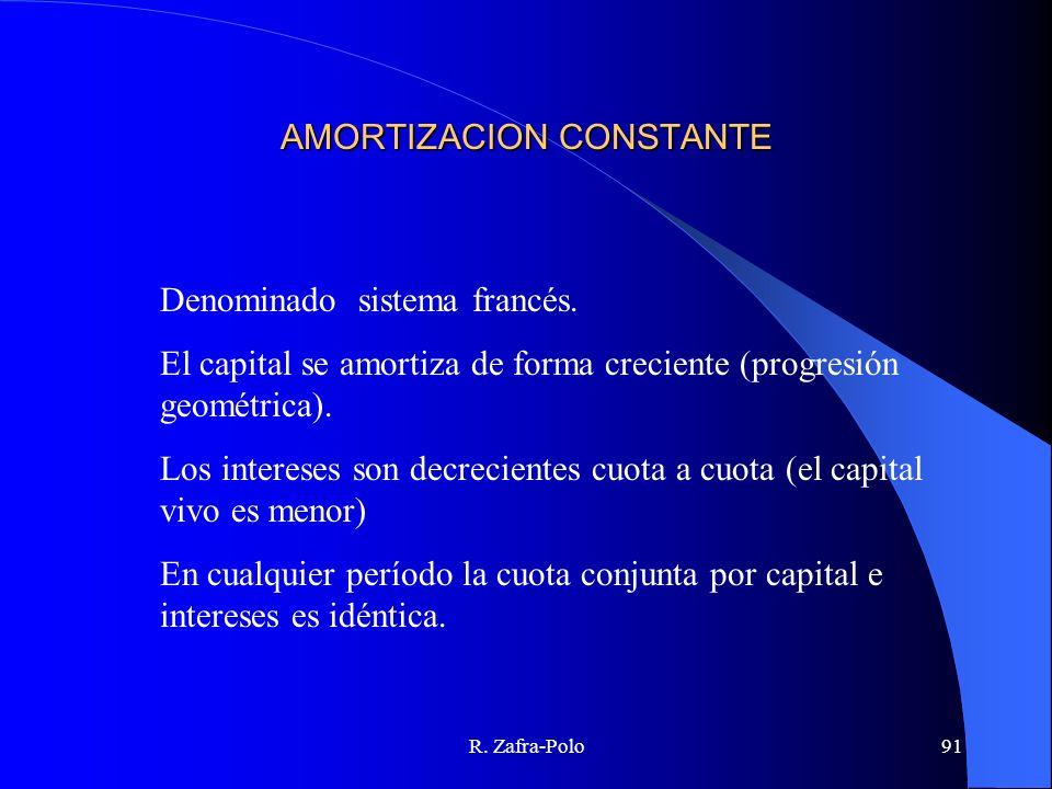 R. Zafra-Polo91 AMORTIZACION CONSTANTE Denominado sistema francés. El capital se amortiza de forma creciente (progresión geométrica). Los intereses so