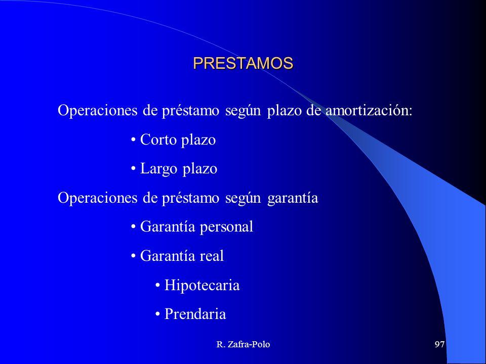 R. Zafra-Polo97 PRESTAMOS Operaciones de préstamo según plazo de amortización: Corto plazo Largo plazo Operaciones de préstamo según garantía Garantía