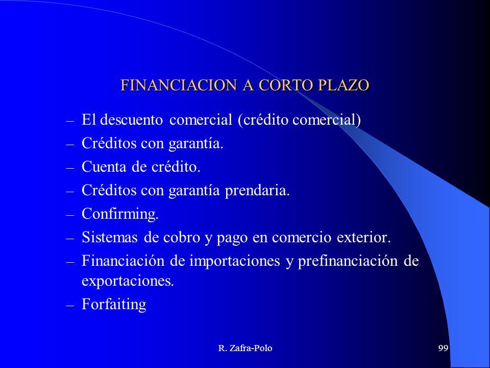 R. Zafra-Polo99 FINANCIACION A CORTO PLAZO – El descuento comercial (crédito comercial) – Créditos con garantía. – Cuenta de crédito. – Créditos con g