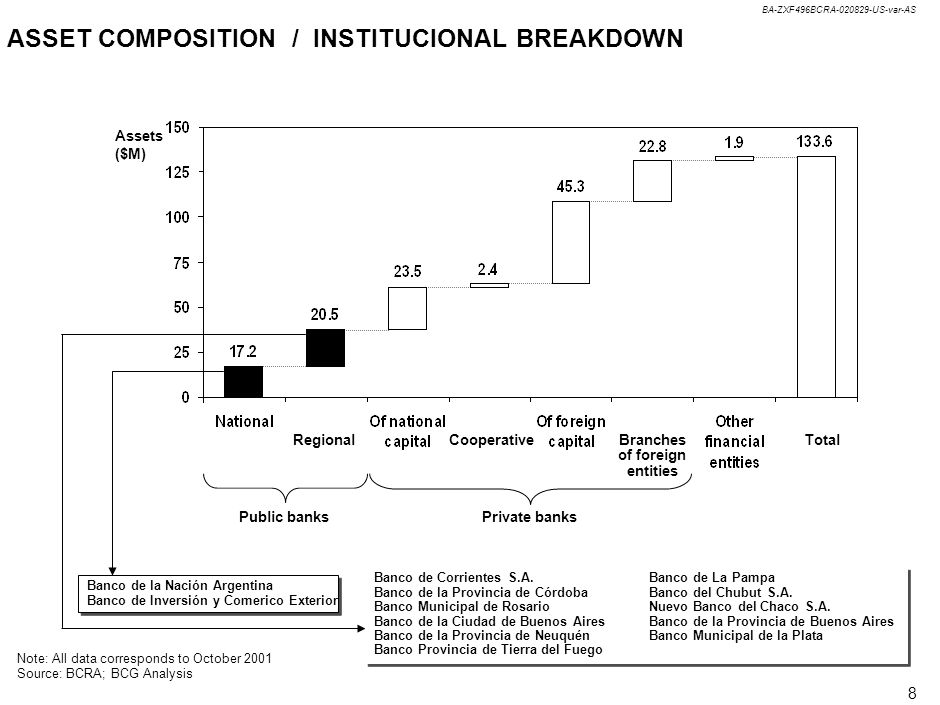 BA-ZXF496BCRA-020829-US-var-AS 8 ASSET COMPOSITION / INSTITUCIONAL BREAKDOWN Note: All data corresponds to October 2001 Source: BCRA; BCG Analysis Banco de Corrientes S.A.