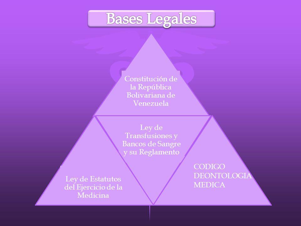 Constitución de la República Bolivariana de Venezuela Ley de Transfusiones y Bancos de Sangre y su Reglamento Ley de Estatutos del Ejercicio de la Med