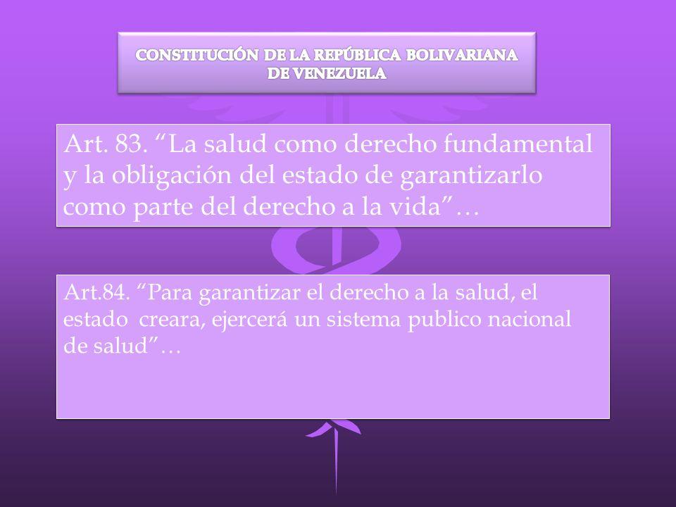 Art. 83. La salud como derecho fundamental y la obligación del estado de garantizarlo como parte del derecho a la vida… Art.84. Para garantizar el der