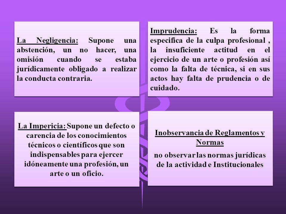 La Negligencia: Supone una abstención, un no hacer, una omisión cuando se estaba jurídicamente obligado a realizar la conducta contraria. La Impericia