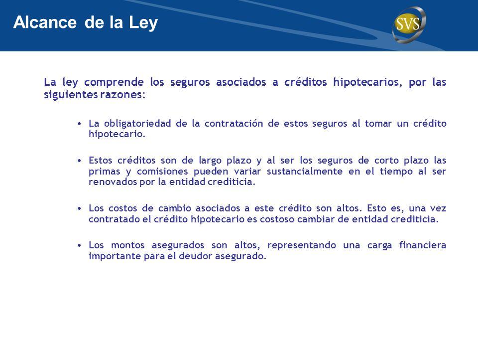 La ley comprende los seguros asociados a créditos hipotecarios, por las siguientes razones: La obligatoriedad de la contratación de estos seguros al t