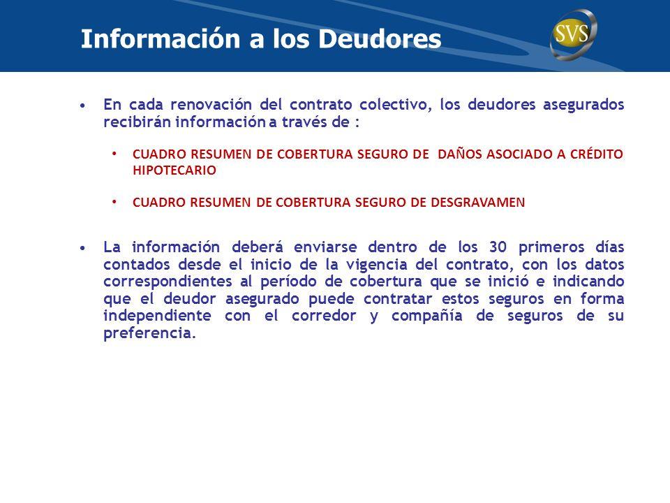 En cada renovación del contrato colectivo, los deudores asegurados recibirán información a través de : CUADRO RESUMEN DE COBERTURA SEGURO DE DAÑOS ASO
