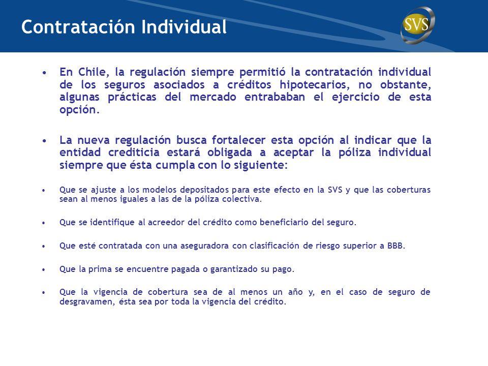 En Chile, la regulación siempre permitió la contratación individual de los seguros asociados a créditos hipotecarios, no obstante, algunas prácticas d