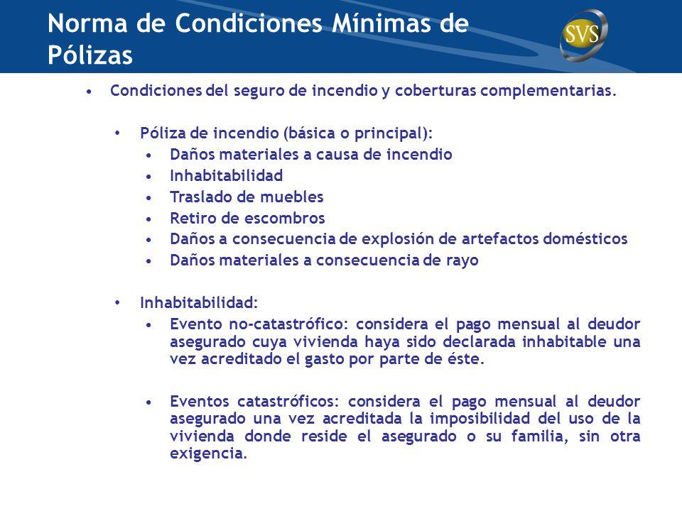 Condiciones del seguro de incendio y coberturas complementarias. Póliza de incendio (básica o principal): Daños materiales a causa de incendio Inhabit