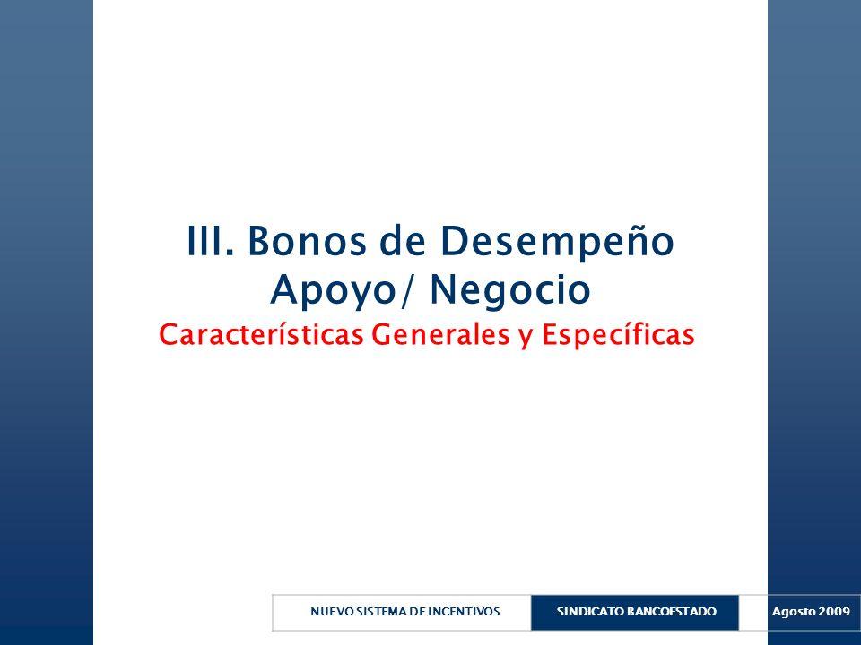 NUEVO SISTEMA DE INCENTIVOSSINDICATO BANCOESTADO Agosto 2009 III. Bonos de Desempeño Apoyo/ Negocio Características Generales y Específicas