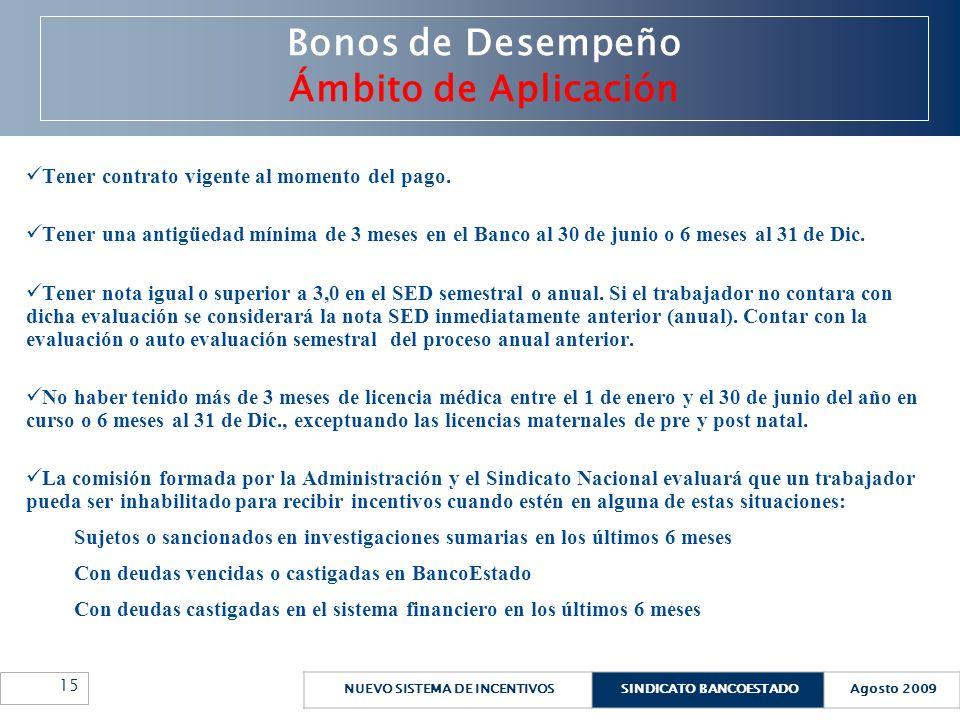 NUEVO SISTEMA DE INCENTIVOSSINDICATO BANCOESTADOAgosto 2009 15 Bonos de Desempeño Ámbito de Aplicación Tener contrato vigente al momento del pago. Ten