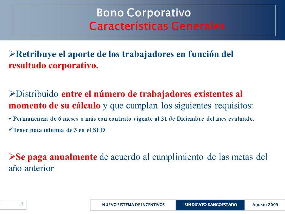 NUEVO SISTEMA DE INCENTIVOSSINDICATO BANCOESTADOAgosto 2009 10 Bono Corporativo Características Específicas Bono Corporativo El grado de cumplimiento de la meta generará un fondo equivalente a un rango entre 5% y 35% de la planilla mensual de remuneraciones.