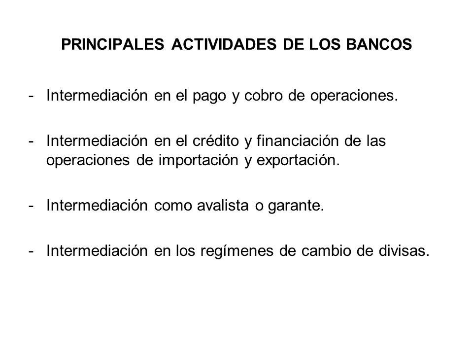 PRINCIPALES ACTIVIDADES DE LOS BANCOS -Intermediación en el pago y cobro de operaciones. -Intermediación en el crédito y financiación de las operacion