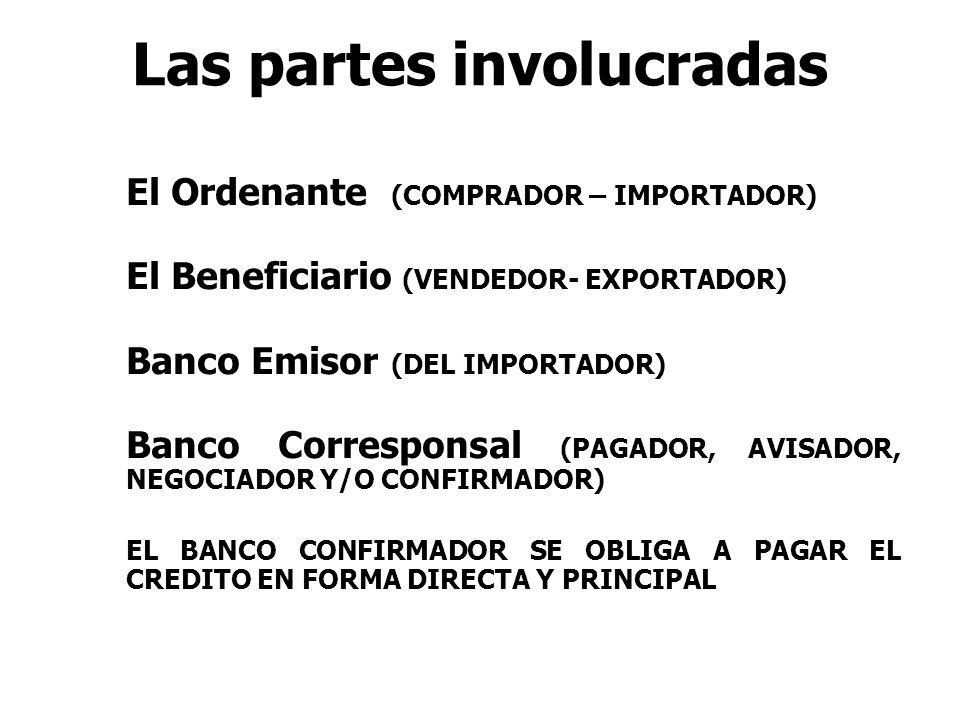 Las partes involucradas El Ordenante (COMPRADOR – IMPORTADOR) El Beneficiario (VENDEDOR- EXPORTADOR) Banco Emisor (DEL IMPORTADOR) Banco Corresponsal