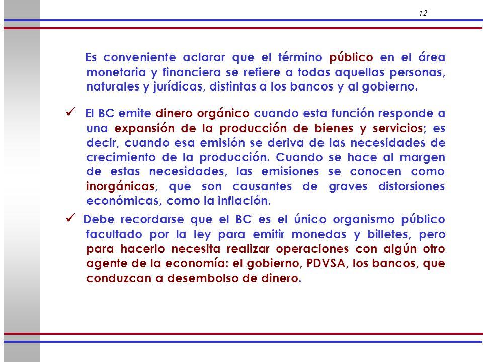 12 Es conveniente aclarar que el término público en el área monetaria y financiera se refiere a todas aquellas personas, naturales y jurídicas, distin