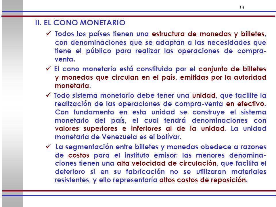 13 II. EL CONO MONETARIO Todos los países tienen una estructura de monedas y billetes, con denominaciones que se adaptan a las necesidades que tiene e