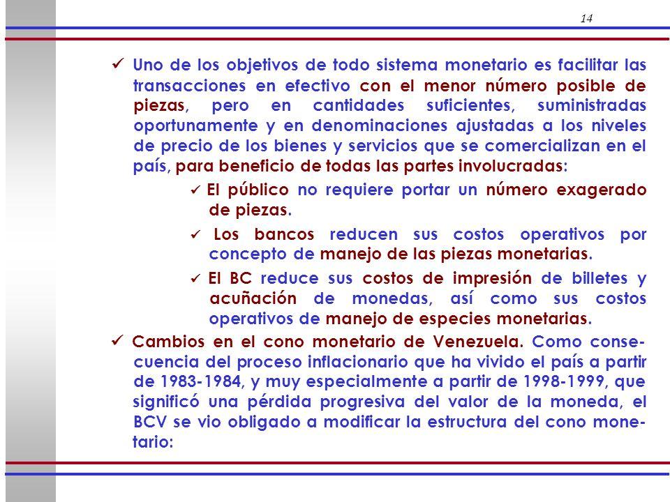 14 Uno de los objetivos de todo sistema monetario es facilitar las transacciones en efectivo con el menor número posible de piezas, pero en cantidades