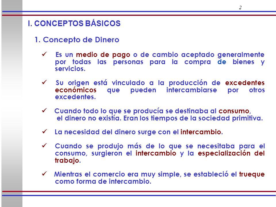 2 I. CONCEPTOS BÁSICOS 1. Concepto de Dinero Es un medio de pago o de cambio aceptado generalmente por todas las personas para la compra de bienes y s