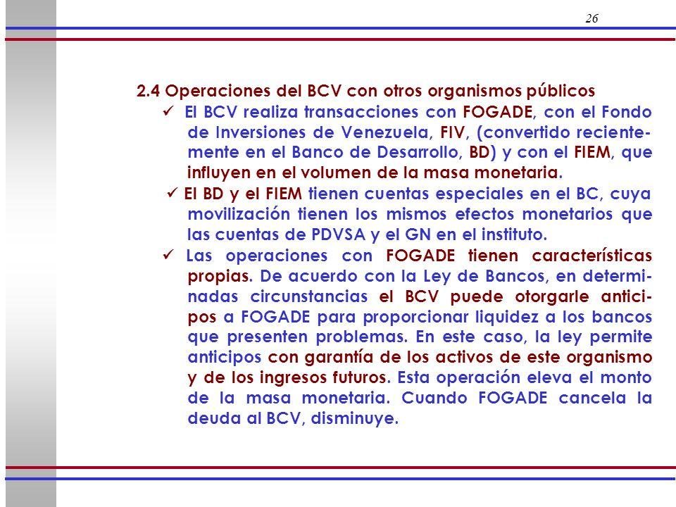 26 2.4 Operaciones del BCV con otros organismos públicos El BCV realiza transacciones con FOGADE, con el Fondo de Inversiones de Venezuela, FIV, (conv