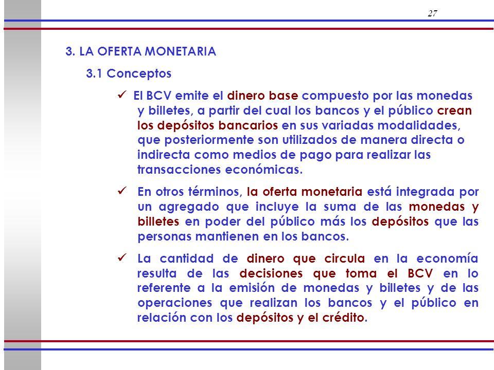 27 3. LA OFERTA MONETARIA 3.1 Conceptos El BCV emite el dinero base compuesto por las monedas y billetes, a partir del cual los bancos y el público cr