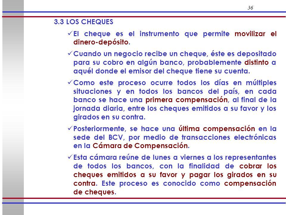 36 3.3 LOS CHEQUES El cheque es el instrumento que permite movilizar el dinero-depósito. Cuando un negocio recibe un cheque, éste es depositado para s