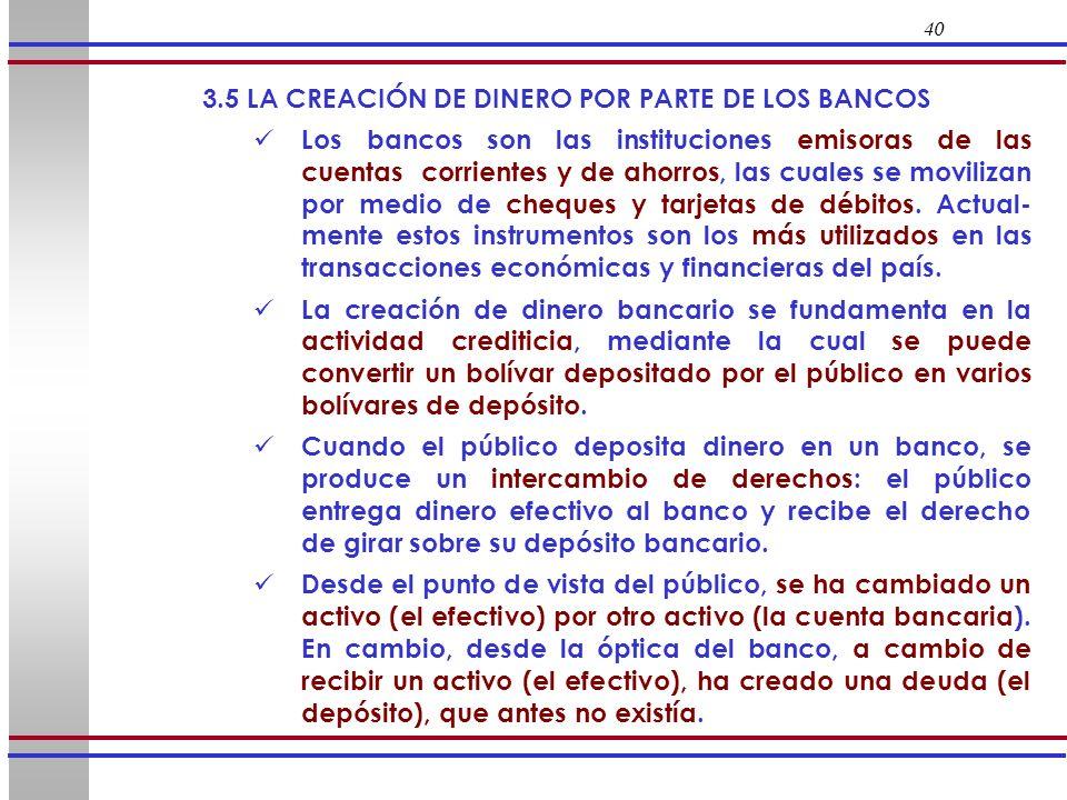 40 3.5 LA CREACIÓN DE DINERO POR PARTE DE LOS BANCOS Los bancos son las instituciones emisoras de las cuentas corrientes y de ahorros, las cuales se m