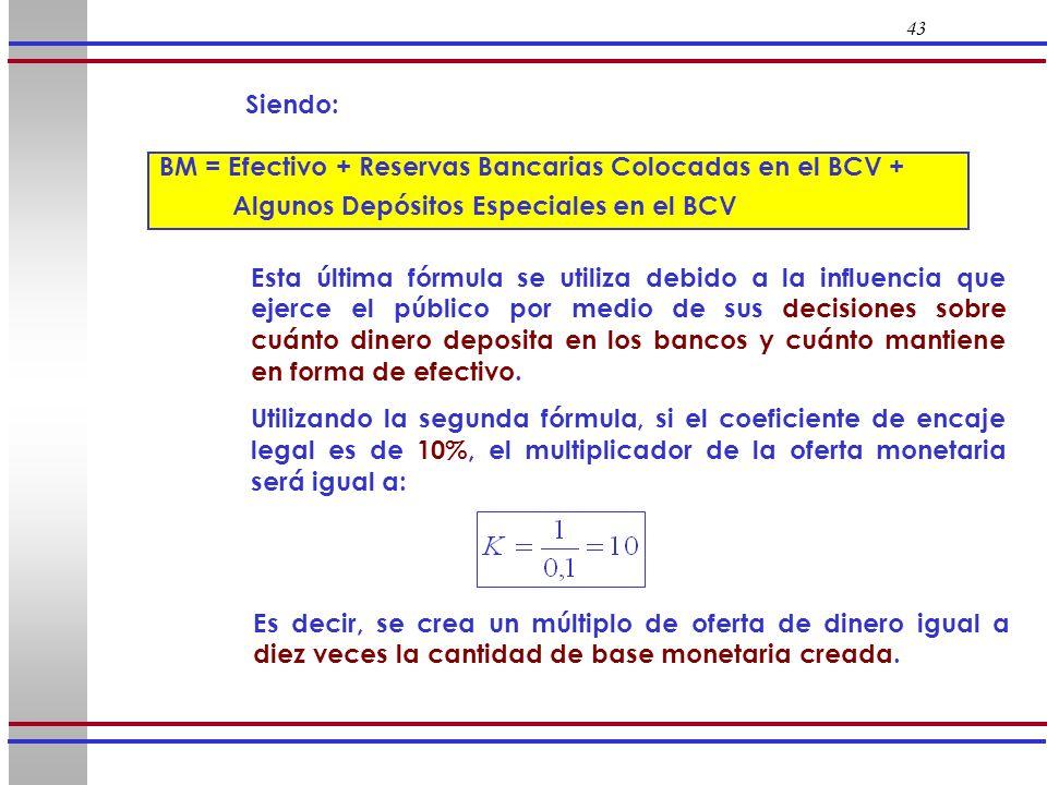 43 Siendo: BM = Efectivo + Reservas Bancarias Colocadas en el BCV + Algunos Depósitos Especiales en el BCV Esta última fórmula se utiliza debido a la