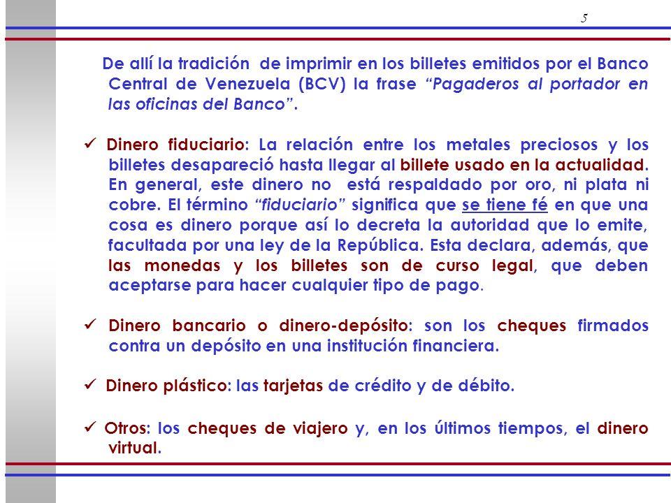 26 2.4 Operaciones del BCV con otros organismos públicos El BCV realiza transacciones con FOGADE, con el Fondo de Inversiones de Venezuela, FIV, (convertido reciente- mente en el Banco de Desarrollo, BD) y con el FIEM, que influyen en el volumen de la masa monetaria.
