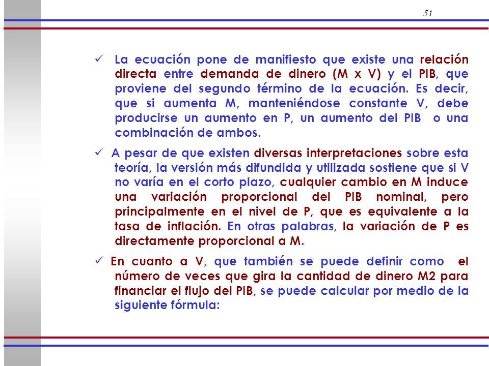 51 La ecuación pone de manifiesto que existe una relación directa entre demanda de dinero (M x V) y el PIB, que proviene del segundo término de la ecu