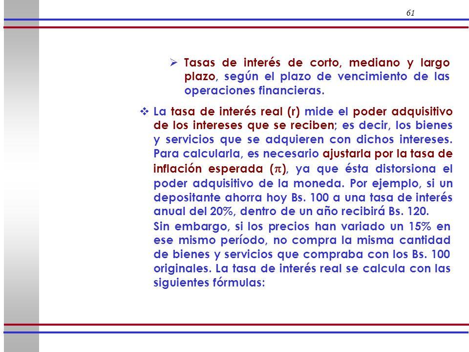 61 La tasa de interés real (r) mide el poder adquisitivo de los intereses que se reciben; es decir, los bienes y servicios que se adquieren con dichos