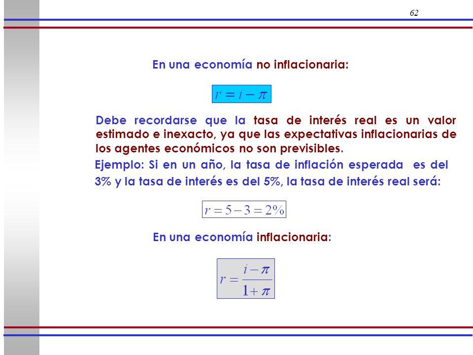 62 Ejemplo: Si en un año, la tasa de inflación esperada es del 3% y la tasa de interés es del 5%, la tasa de interés real será: En una economía inflac
