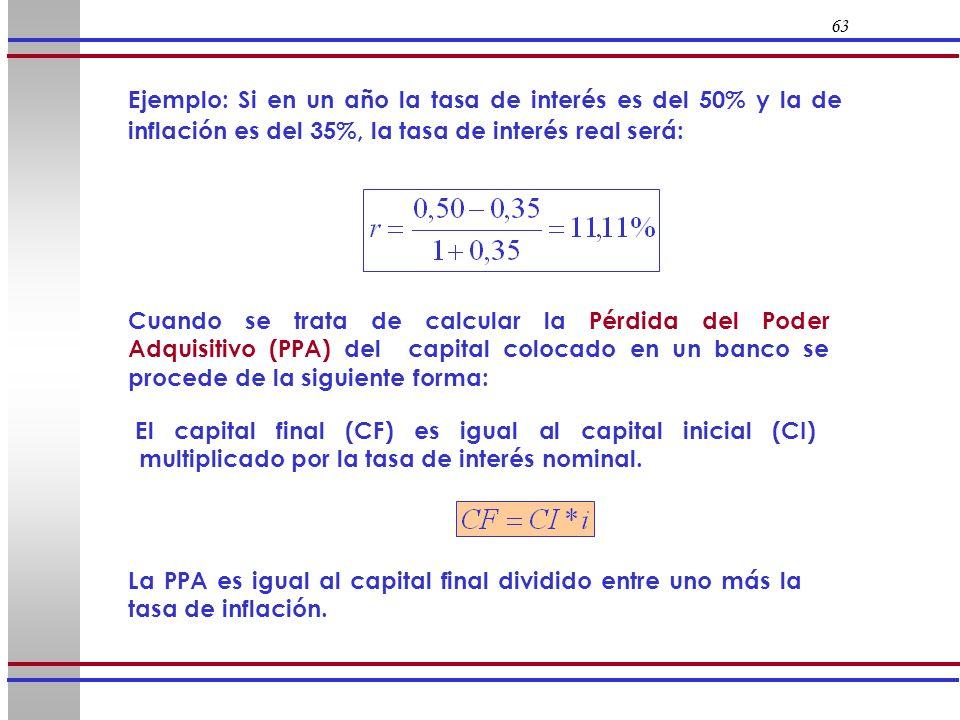 63 El capital final (CF) es igual al capital inicial (CI) multiplicado por la tasa de interés nominal. La PPA es igual al capital final dividido entre