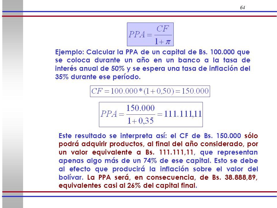 64 Este resultado se interpreta así: el CF de Bs. 150.000 sólo podrá adquirir productos, al final del año considerado, por un valor equivalente a Bs.
