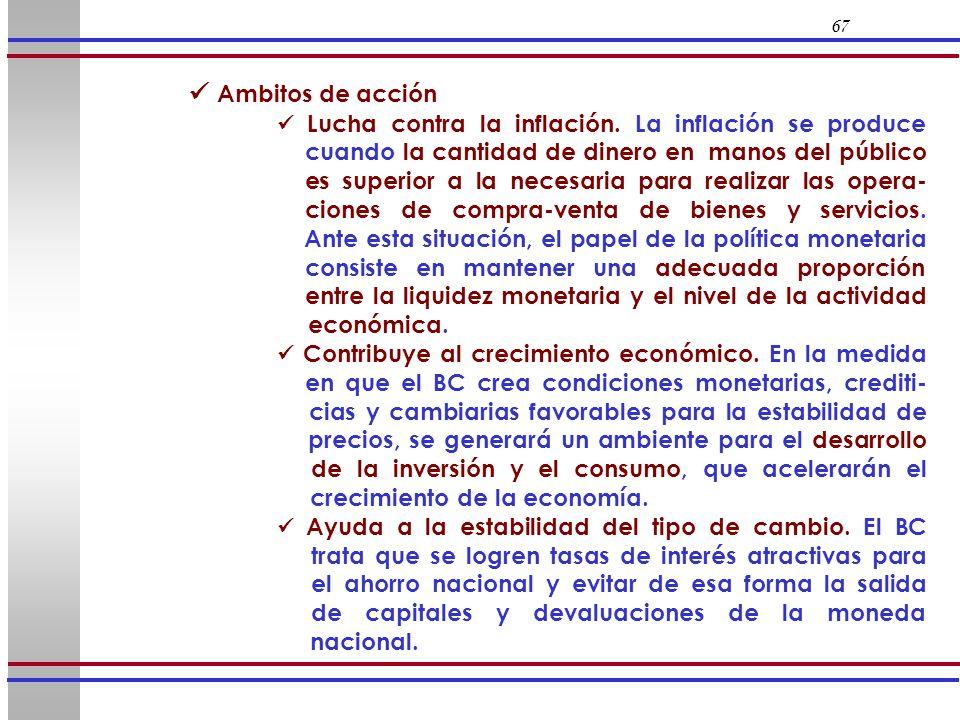 67 Ambitos de acción Lucha contra la inflación. La inflación se produce cuando la cantidad de dinero en manos del público es superior a la necesaria p