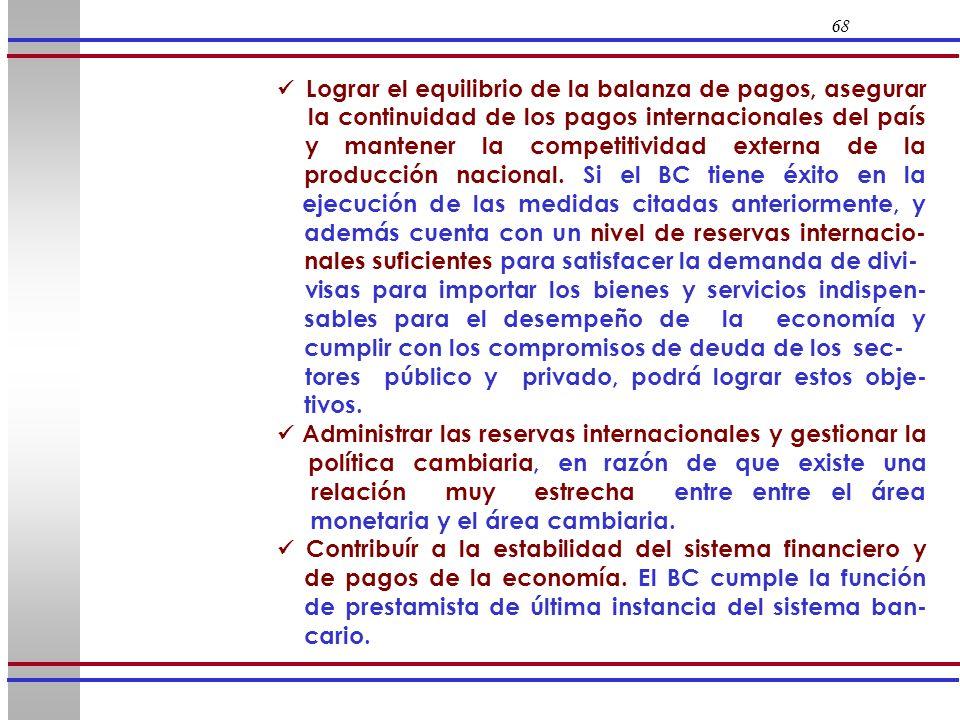 68 Lograr el equilibrio de la balanza de pagos, asegurar la continuidad de los pagos internacionales del país y mantener la competitividad externa de