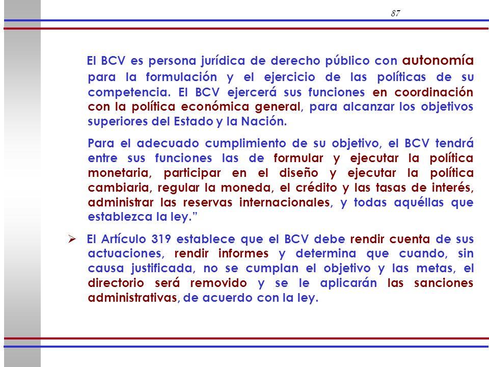 87 El BCV es persona jurídica de derecho público con autonomía para la formulación y el ejercicio de las políticas de su competencia. El BCV ejercerá