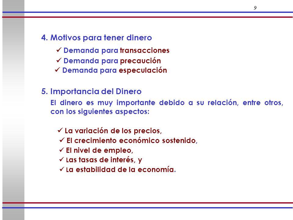 9 4. Motivos para tener dinero Demanda para transacciones Demanda para precaución Demanda para especulación 5. Importancia del Dinero El dinero es muy