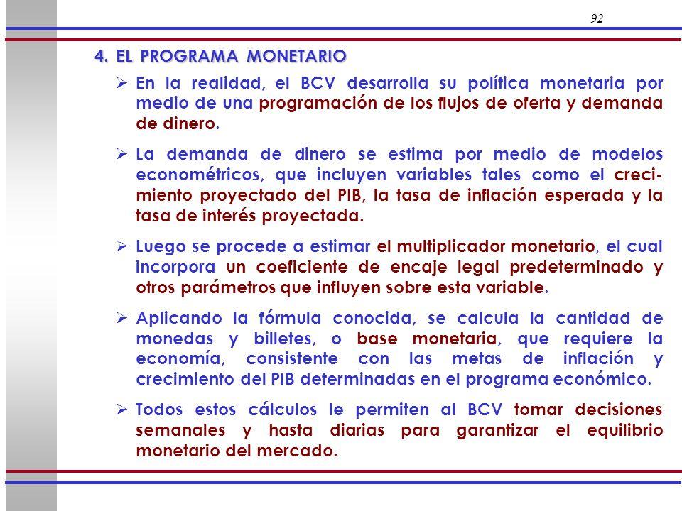 92 4. EL PROGRAMA MONETARIO 4. EL PROGRAMA MONETARIO En la realidad, el BCV desarrolla su política monetaria por medio de una programación de los fluj