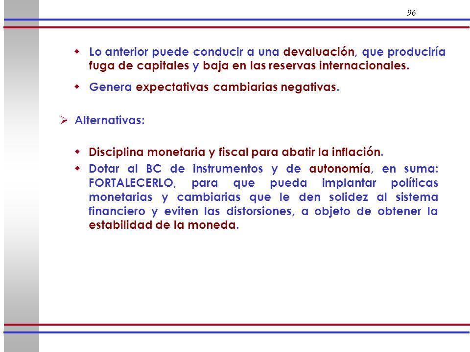 96 Alternativas: Disciplina monetaria y fiscal para abatir la inflación. Dotar al BC de instrumentos y de autonomía, en suma: FORTALECERLO, para que p