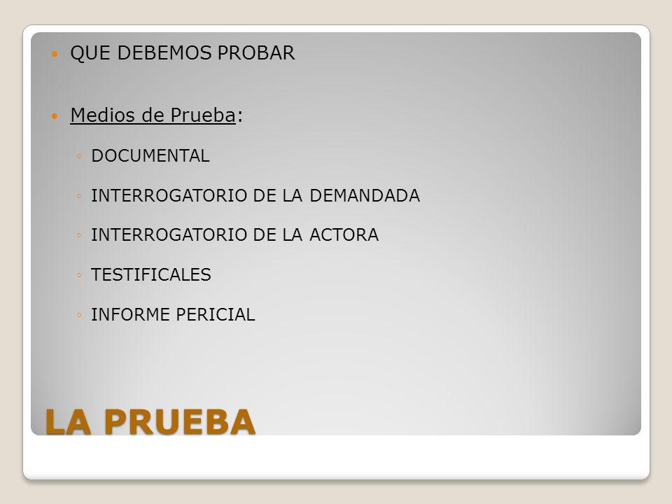 LA PRUEBA QUE DEBEMOS PROBAR Medios de Prueba: DOCUMENTAL INTERROGATORIO DE LA DEMANDADA INTERROGATORIO DE LA ACTORA TESTIFICALES INFORME PERICIAL