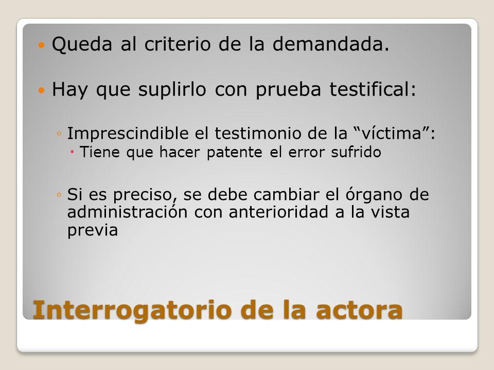 Interrogatorio de la actora Queda al criterio de la demandada. Hay que suplirlo con prueba testifical: Imprescindible el testimonio de la víctima: Tie