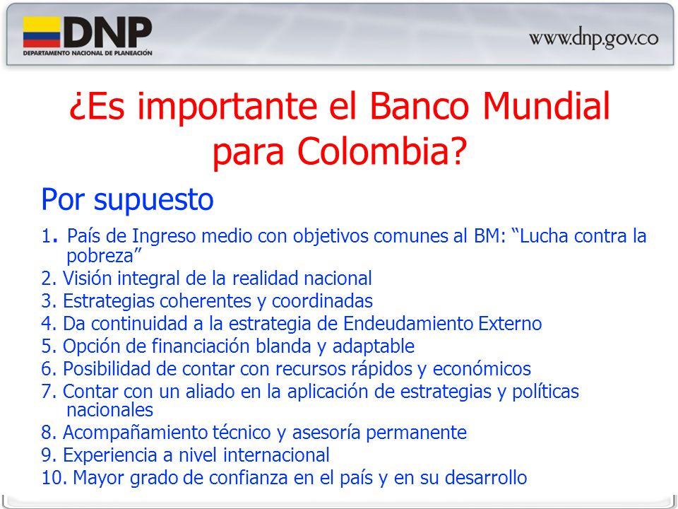 ¿Es importante el Banco Mundial para Colombia. Por supuesto 1.