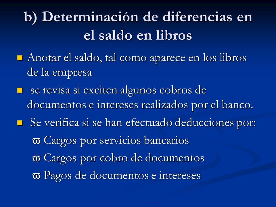 b) Determinación de diferencias en el saldo en libros Anotar el saldo, tal como aparece en los libros de la empresa Anotar el saldo, tal como aparece